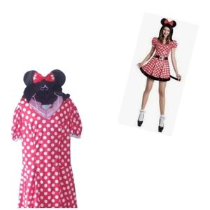 Minnie Mouse Hooded Red White Black Size Large
